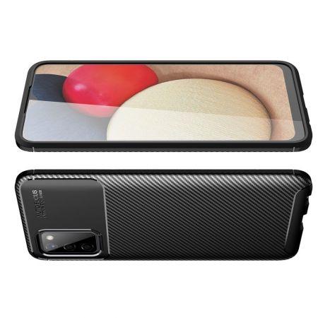 Carbon Fibre Силиконовый матовый бампер чехол для Samsung Galaxy A02s Черный