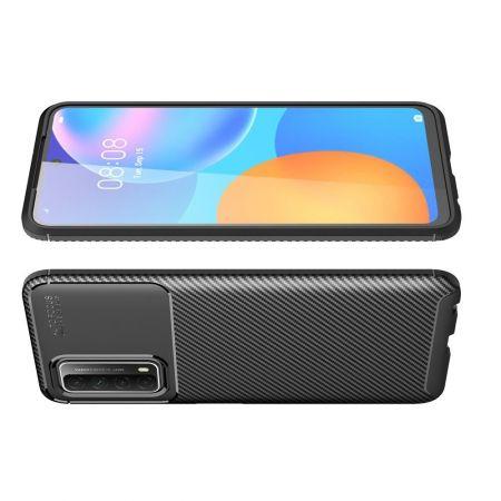 Carbon Fibre Силиконовый матовый бампер чехол для Huawei P Smart 2021 Черный
