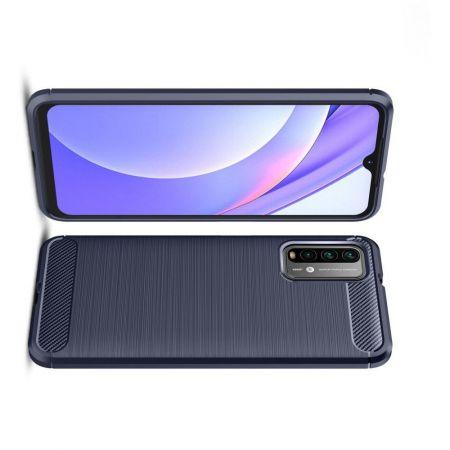 Carbon Fibre Силиконовый матовый бампер чехол для Xiaomi Poco M3 Синий