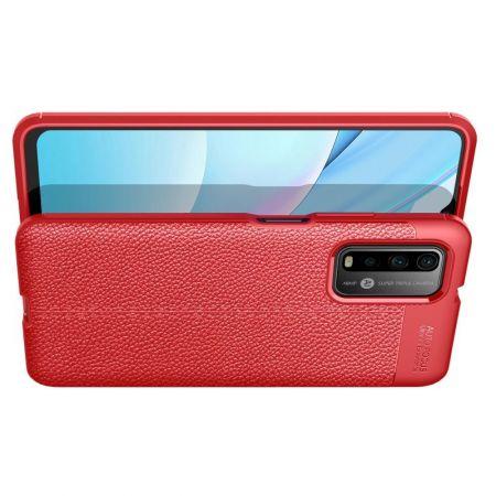 Litchi Grain Leather Силиконовый Накладка Чехол для Xiaomi Poco M3 с Текстурой Кожа Красный