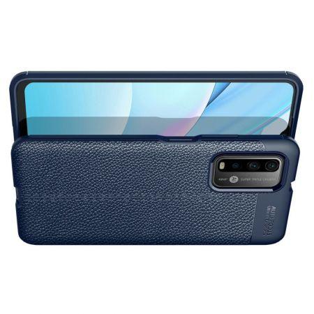 Litchi Grain Leather Силиконовый Накладка Чехол для Xiaomi Poco M3 с Текстурой Кожа Синий