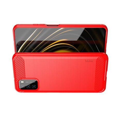 Carbon Fibre Силиконовый матовый бампер чехол для Xiaomi Poco M3 Красный