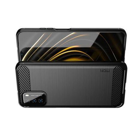 Carbon Fibre Силиконовый матовый бампер чехол для Xiaomi Poco M3 Черный