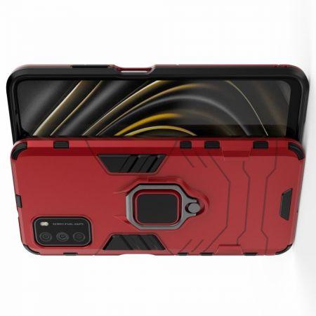 Защитный усиленный гибридный чехол противоударный с подставкой для Xiaomi Poco M3 Красный