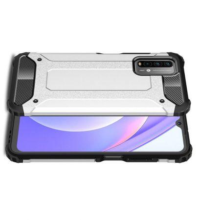 Extreme Усиленный Защитный Силиконовый Матовый Чехол для Xiaomi Poco M3 Серебряный