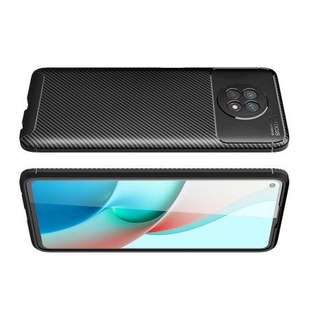 Carbon Fibre Силиконовый матовый бампер чехол для Xiaomi Redmi Note 9T Черный