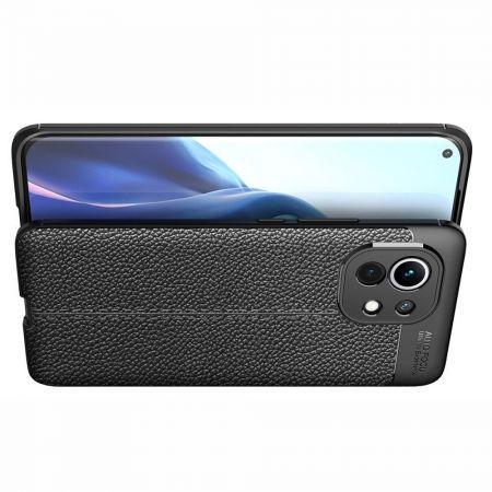 Litchi Grain Leather Силиконовый Накладка Чехол для Xiaomi Mi 11 с Текстурой Кожа Черный