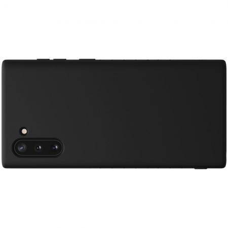 Мягкий матовый силиконовый бампер NILLKIN Flex чехол для Samsung Galaxy Note 10 Черный