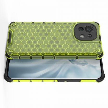 Honeycomb Противоударный Защитный Силиконовый Чехол для Телефона TPU для Xiaomi Mi 11 Зеленый