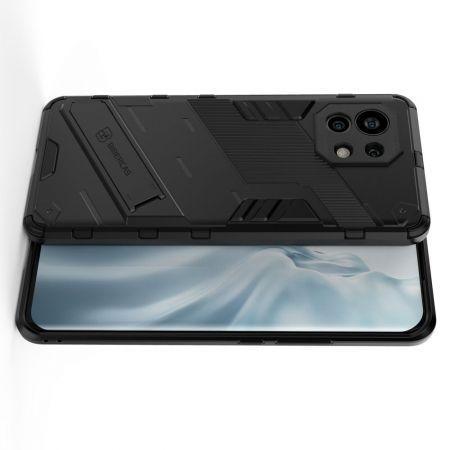 Защитный усиленный гибридный чехол противоударный с подставкой для Xiaomi Mi 11 Черный