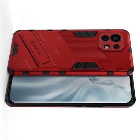 Защитный усиленный гибридный чехол противоударный с подставкой для Xiaomi Mi 11 Красный
