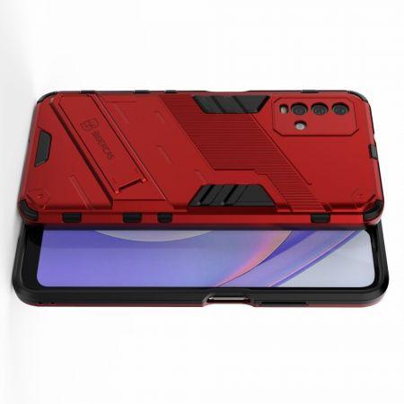 Защитный усиленный гибридный чехол противоударный с подставкой для Xiaomi Redmi 9T Красный