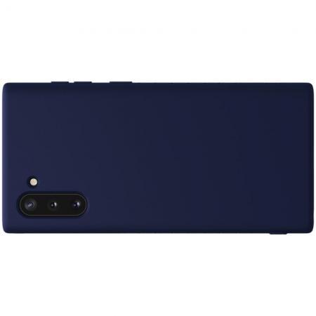 Мягкий матовый силиконовый бампер NILLKIN Flex чехол для Samsung Galaxy Note 10 Синий