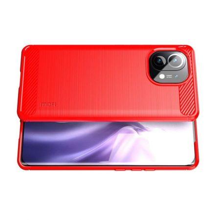 Carbon Fibre Силиконовый матовый бампер чехол для Xiaomi Mi 11 Красный