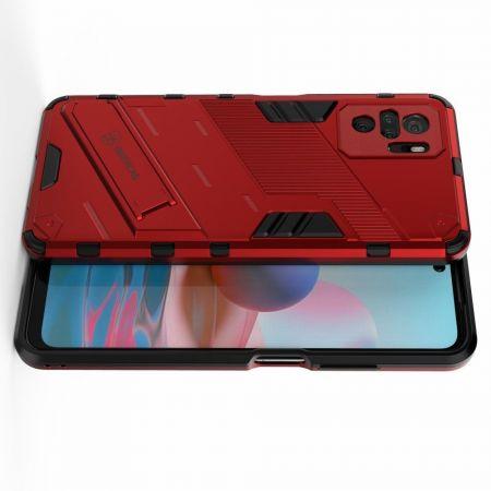 Защитный усиленный гибридный чехол противоударный с подставкой для Xiaomi Redmi Note 10 Красный