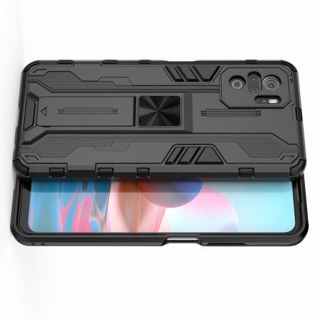 Защитный усиленный гибридный чехол противоударный с подставкой для Xiaomi Redmi Note 10 Черный