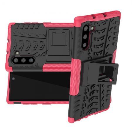 Двухкомпонентный Противоскользящий Гибридный Противоударный Чехол для Samsung Galaxy Note 10 с Подставкой Черный