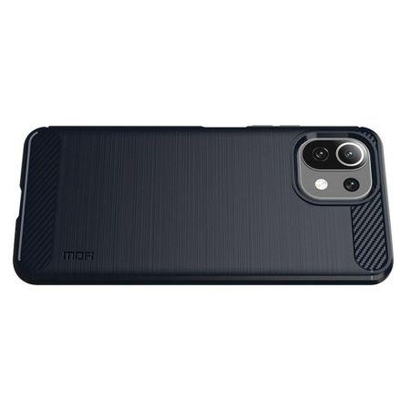 Carbon Fibre Силиконовый матовый бампер чехол для Xiaomi Mi 11 Lite Синий