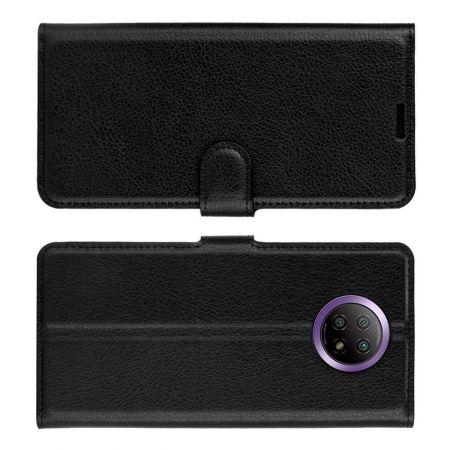 Вертикальный флип чехол книжка с откидыванием вниз для Xiaomi Redmi Note 9T - Черный