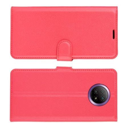 Вертикальный флип чехол книжка с откидыванием вниз для Xiaomi Redmi Note 9T - Красный