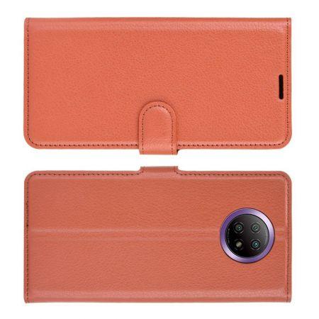 Вертикальный флип чехол книжка с откидыванием вниз для Xiaomi Redmi Note 9T - Коричневый