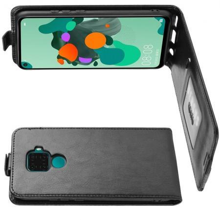 Вертикальный флип чехол книжка с откидыванием вниз для Huawei Mate 30 Lite - Черный