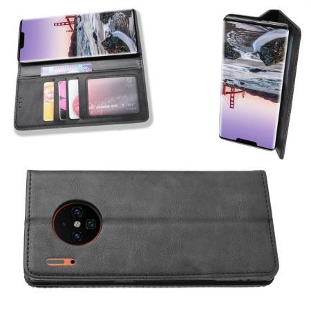 PU Кожаный Чехол Автоматическое Закрывание Подставка и Кошелёк для Huawei Mate 30 Pro Черный