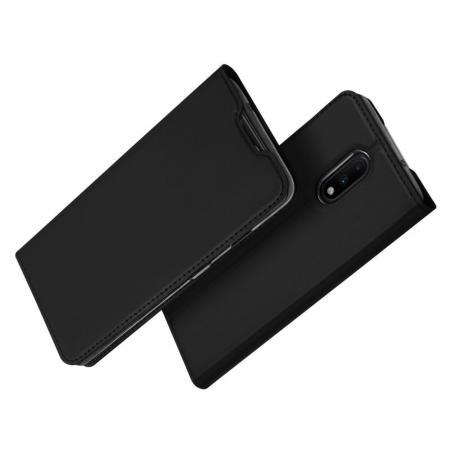 Тонкий Флип Чехол Книжка с Магнитом и Отделением для Карты для OnePlus 7 Черный