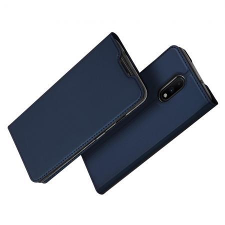 Тонкий Флип Чехол Книжка с Магнитом и Отделением для Карты для OnePlus 7 Синий