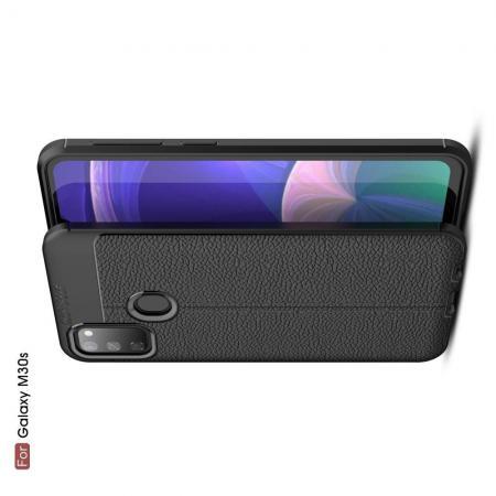 Litchi Grain Leather Силиконовый Накладка Чехол для Samsung Galaxy M30s с Текстурой Кожа Черный