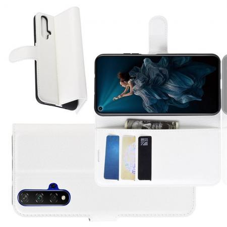 Флип чехол книжка с кошельком подставкой отделениями для карт и магнитной застежкой для Huawei Honor 20 Белый