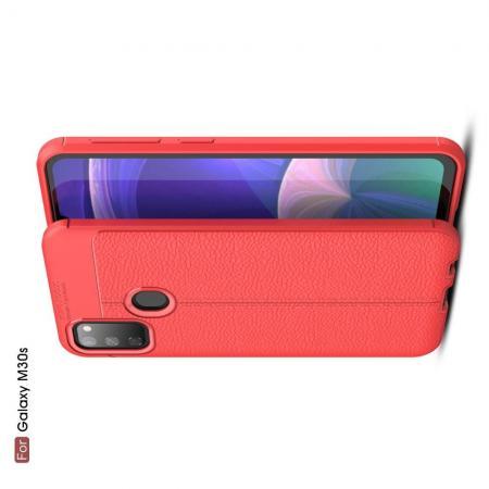 Litchi Grain Leather Силиконовый Накладка Чехол для Samsung Galaxy M30s с Текстурой Кожа Красный