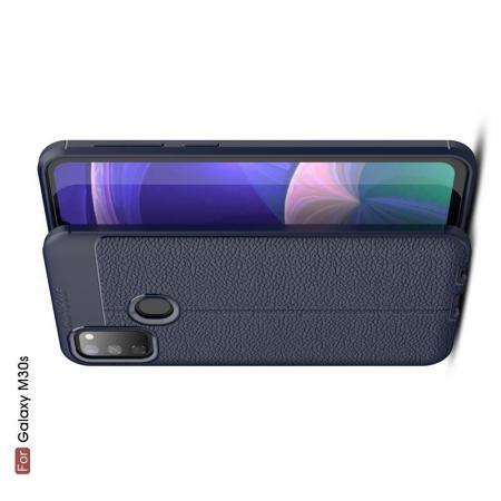 Litchi Grain Leather Силиконовый Накладка Чехол для Samsung Galaxy M30s с Текстурой Кожа Синий