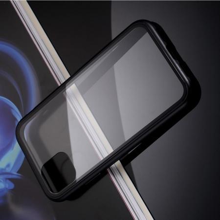 Металлический Магнитный Чехол Бампер с Закаленным Стеклом iPhone 11 Pro Черный