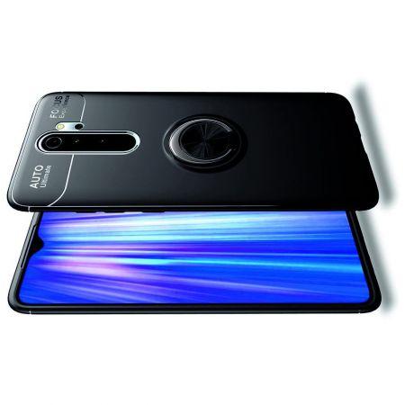 Силиконовый Чехол для Магнитного Держателя с Кольцом для Пальца Подставкой для Xiaomi Redmi Note 8 Pro Черный