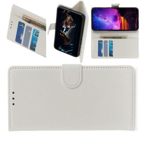Белый чехол книжка с кошельком подставкой отделениями для карт и магнитной застежкой для OnePlus 7