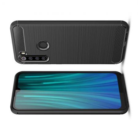 Carbon Fibre Силиконовый матовый бампер чехол для Xiaomi Redmi Note 8 Черный