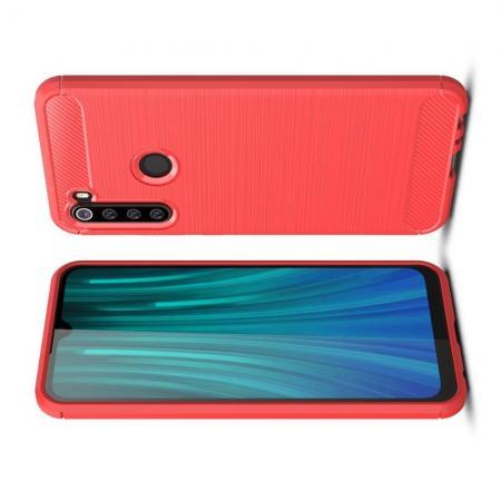Carbon Fibre Силиконовый матовый бампер чехол для Xiaomi Redmi Note 8 Красный