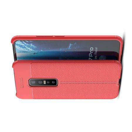 Litchi Grain Leather Силиконовый Накладка Чехол для vivo V17 Pro с Текстурой Кожа Красный