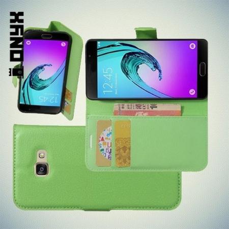 Флип чехол книжка с кошельком подставкой отделениями для карт и магнитной застежкой для Samsung Galaxy A3 2017 SM-A320F Зеленый