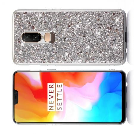 Блестящий силиконовый чехол с с металлизированными гранями для OnePlus 6 Серебряный