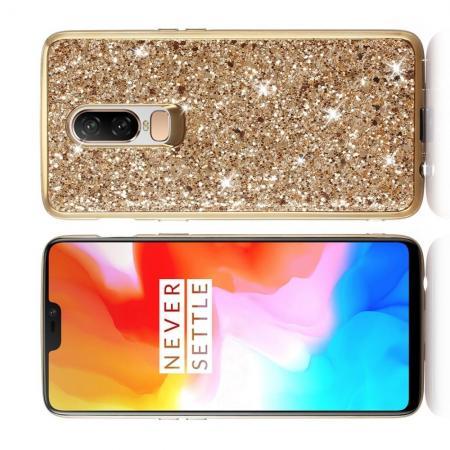 Блестящий силиконовый чехол с с металлизированными гранями для OnePlus 6 Золотой