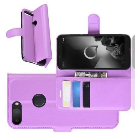 Боковая Чехол Книжка Кошелек с Футляром для Карт и Застежкой Магнитом для Alcatel 1S 2019 5024D Фиолетовый