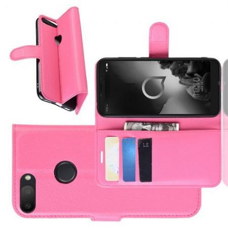 Боковая Чехол Книжка Кошелек с Футляром для Карт и Застежкой Магнитом для Alcatel 1S 2019 5024D Розовый