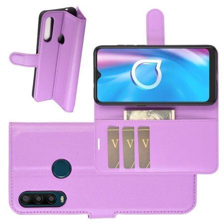 Боковая Чехол Книжка Кошелек с Футляром для Карт и Застежкой Магнитом для Alcatel 1S (2020) Фиолетовый