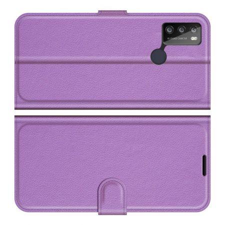 Боковая Чехол Книжка Кошелек с Футляром для Карт и Застежкой Магнитом для Alcatel 1S (2021)/3L (2021) Фиолетовый