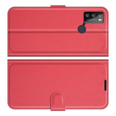 Боковая Чехол Книжка Кошелек с Футляром для Карт и Застежкой Магнитом для Alcatel 1S (2021)/3L (2021) Красный