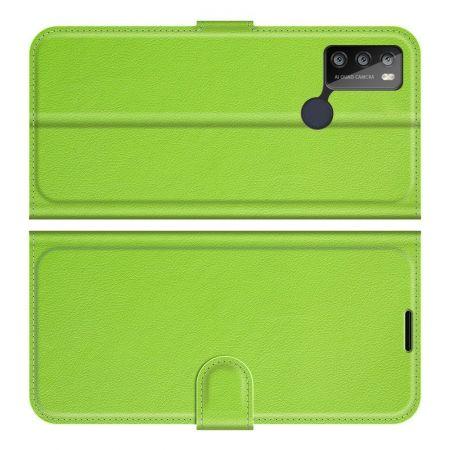 Боковая Чехол Книжка Кошелек с Футляром для Карт и Застежкой Магнитом для Alcatel 1S (2021)/3L (2021) Зеленый