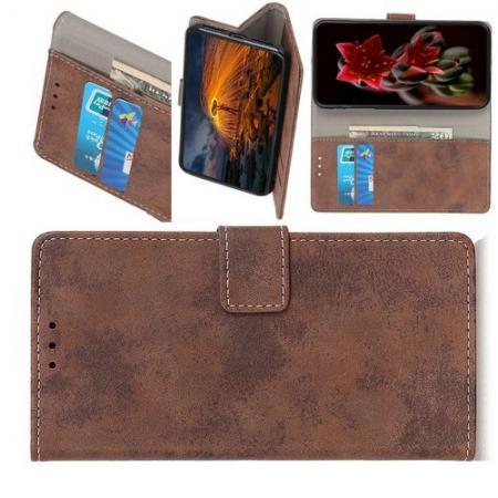 Боковая Чехол Книжка Кошелек с Футляром для Карт и Застежкой Магнитом для HTC Desire 19 Plus Коричневый