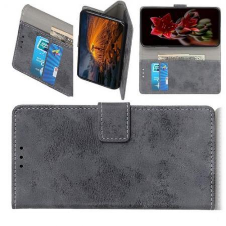 Боковая Чехол Книжка Кошелек с Футляром для Карт и Застежкой Магнитом для HTC Desire 19 Plus Серый